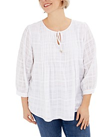 Plus Size Pintuck Gauze Plaid Top, Created for Macy's