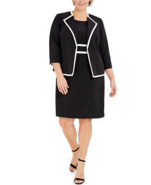 Plus Size Colorblocked Wing-Collar Jacket and Dress Suit