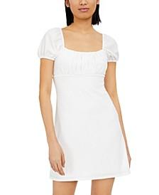Juniors' Puff-Sleeve Crinkle Dress
