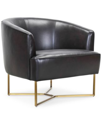 Trentley Leather Accent Scoop Chair