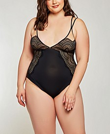Plus Size Elegant Lace Overlay Day and Night Bodysuit, Online Only