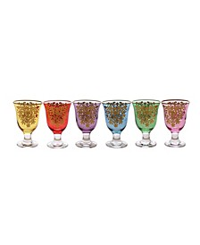Short Stem Glass with 14K Gold Artwork, Set of 6