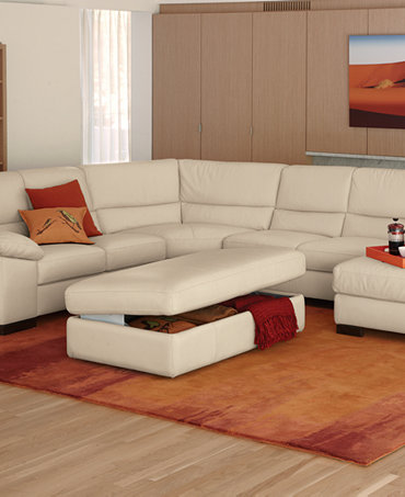 Spencer Leather Sectional Living Room Furniture Collection Furniture Macy