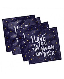 """I Love You to the Moon and Back Set of 4 Napkins, 12"""" x 12"""""""