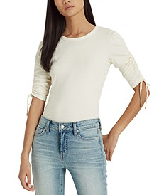 Ruched Cotton-Blend Top
