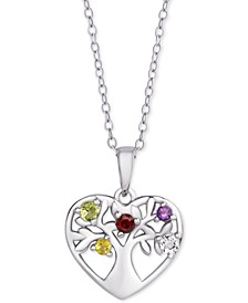 "Multi-Gemstone Tree of Life 18"" Pendant Necklace (1/5 ct. t.w.) in Sterling Silver"