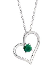 "Emerald Heart 18"" Pendant Necklace (1/2 ct. t.w.) in Sterling Silver"