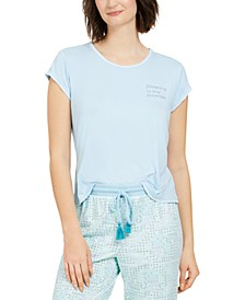Contrast Stitch Short Sleeves Pajama Top