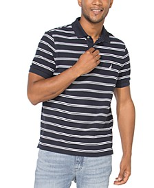 Men's Slim-Fit Performance Striped Deck Polo Shirt