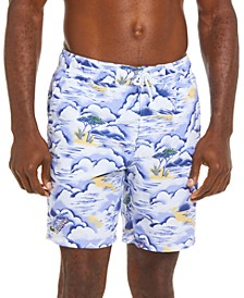 "Men's 'Greetings from France' Graphic Print Lightweight 8"" Swim Trunks"