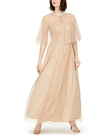 Glitter-Dot Cape Gown