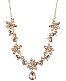 "Crystal Flower Frontal Necklace, 16"" + 3"" extender"