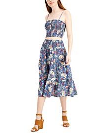 Juniors' 2-Pc. Smocked Floral-Print Midi Dress