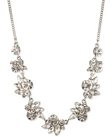 """Crystal Floral Cluster Frontal Necklace, 16"""" + 3"""" extender"""