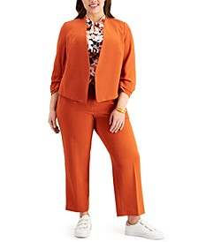 Plus Size Ruched-Sleeve Jacket, Tie-Neck Top & Tie-Waist Pants, Created for Macy's