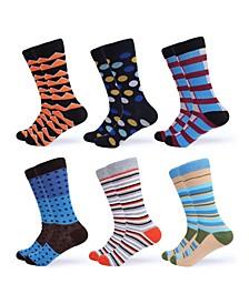 Men's Funky Colorful Dress Socks Pack of 6