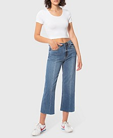 High Rise Wide Leg Crop Denim