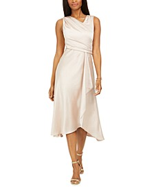 Petite Draped Satin Midi Dress