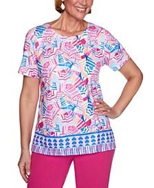 Laguna Beach Umbrella-Print Border Knit Top