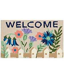"Hand Hooked Welcome Flowers 18""x 30"" Accent Rug"