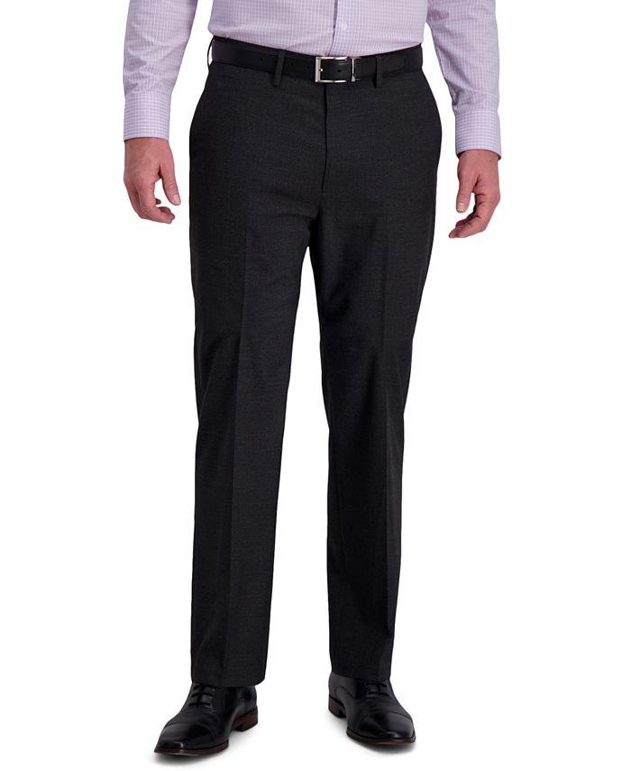 Haggar - Men's Classic-Fit 4-Way Stretch Textured Grid Performance Dress Pants
