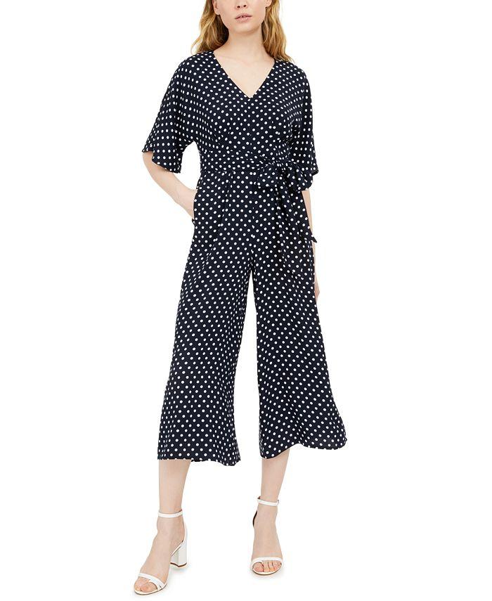 INC International Concepts - V-Neck Polka-Dot Jumpsuit