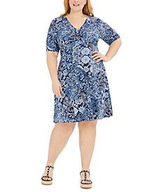 Plus Size Paisley-Print Dress