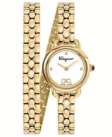 Women's Swiss Varina Gold-Tone Stainless Steel Double Wrap Bracelet Watch 22mm
