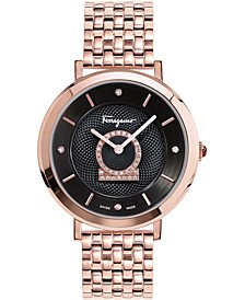 Women's Swiss Minuetto Diamond (1/3 ct. t.w.) Rose Gold-Tone Stainless Steel Bracelet Watch 36mm