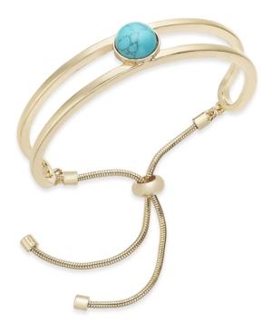 Gold-Tone Stone Ball Double-Row Slider Bracelet