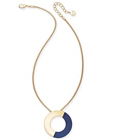 """Gold-Tone Colorblock Open Disc Pendant Necklace, 16"""" + 3"""" extender, Created for Macy's"""