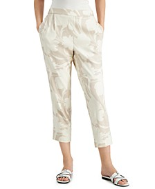 Floral Linen Pull-On Ankle Pants