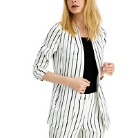 Deals on Alfani Striped Open-Front Blazer