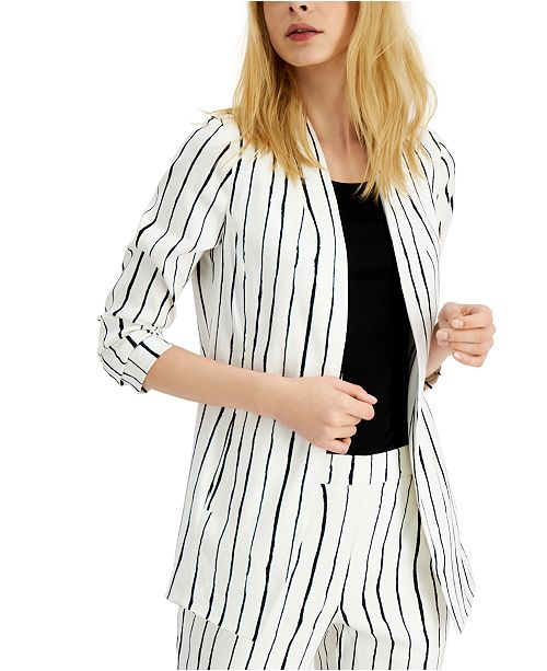Alfani Striped Open-Front Blazer, Created for Macy's