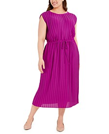 Plus Size Pleated Tie-Waist Midi Dress, Created for Macy's