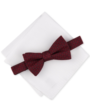 Alfani Men's 2-Pc. Pre-Tied Grid Bow Tie & Solid Pocket Square Set, Created for Macy's