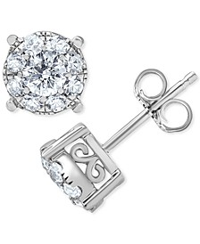 Diamond Halo Stud Earrings (1 ct. t.w.) in 14k White Gold