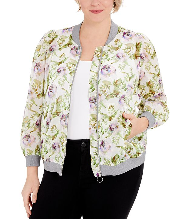 INC International Concepts INC Plus Size Floral-Print Zipper Jacket, Created for Macy's