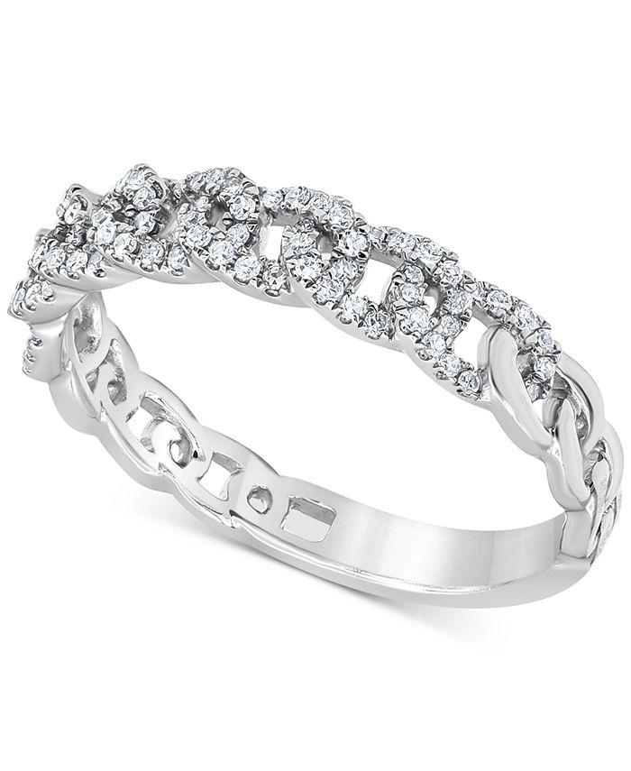 Macy's - Diamond Chain Link Band (1/5 ct. t.w.) in 10k White Gold