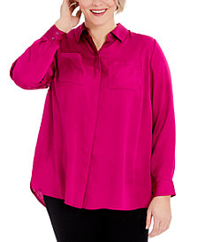 INC Plus Size Solid Charm Shirt, Created for Macy's
