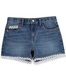 Big Girls Crochet Trim Cotton Denim Shorts