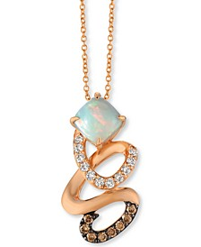 "Neopolitan Opal (3/4 ct. t.w.) & Diamond (1/3 ct. t.w.) Swirl 18"" Pendant Necklace in 14k Rose Gold"