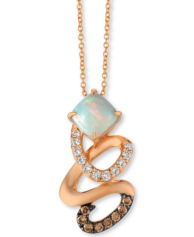 "Le Vian Neopolitan Opal (3/4 ct. t.w.) & Diamond (1/3 ct. t.w.) Swirl 18"" Pendant Necklace in 14k Rose Gold"