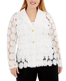 Plus Size Floral Crochet Jacket