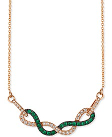"Costa Smeralda Emerald (1/3 ct. t.w.) & Vanilla Diamond (1/3 ct. t.w.) Fancy 18"" Statement Necklace in 14k Rose Gold"