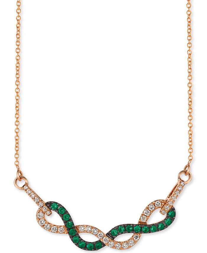 "Le Vian - Costa Smeralda Emerald (1/3 ct. t.w.) & Vanilla Diamond (1/3 ct. t.w.) Fancy 18"" Statement Necklace in 14k Rose Gold"