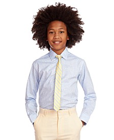 Big Boys 2-Pc. Stretch Paisley-Print Dress Shirt & Stripe Tie Set