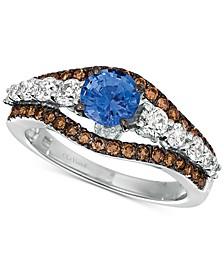 Cornflower Ceylon Sapphire (7/8 ct. t.w.) & Diamond (7/8 ct. t.w.) Ring in 14k White Gold