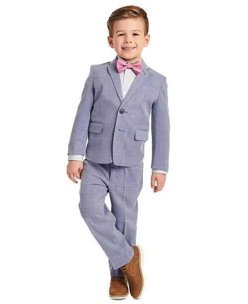 Calvin Klein Toddler Boys 4-Pc. Blue Dobby Suit Set