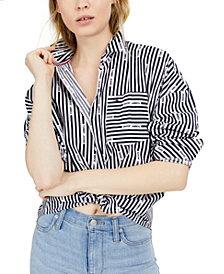 Tommy Jeans Striped Graphic Cotton Shirt